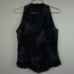 J Kara Women's Sleeveless V neck Party Blouse Top